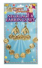 DESERT ALADDIN PRINCESS JASMINE GOLD COIN JEWEL EARRINGS NECKLACE FANCY DRESS