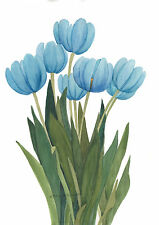 Blue Vertical Tulips Watercolor Reproduction Painting  by Wanda's Watercolors
