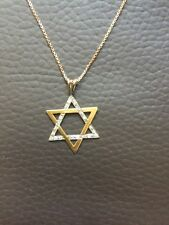 STAR DAVID DIAMOND PENDANT WITH CHAIN YELLOW GOLD 14 Ct VINTAGE
