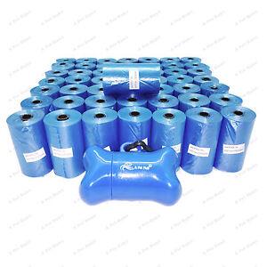1000 BLUE DOG POOP BAGS DOGGY WASTE REFILL ROLLS w/BONE DISPENSER FREE SHIPPING