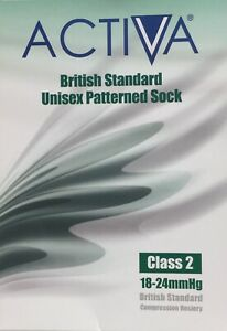 Activa Unisex Patterned Sock,Class2,Below Knee,Closed Toe,Black,choose size