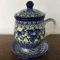 C.A. Polish Pottery 12 oz Tea Infuser Mug & Saucer-NEW-Viola/Violets