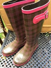 CAPELLI Capella Womens Galoshes Rain Boots Shoes Brown Pink DIVA PLAID Size 7