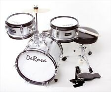 De Rosa DRM312-SL 12 in. Kids Children Drum Set in Silver - 3 Piece Set
