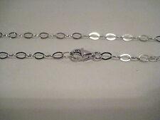 Collana 50 cm in catena puro argento 925,massicco,ovale ,rodiata, fine.Regalo