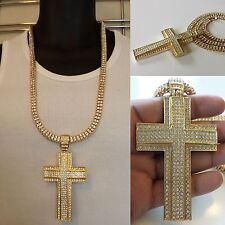 Mens Iced out 14k Yellow Gold Finish Cross W/ 2 Row Lab Diamonds Chain Necklace