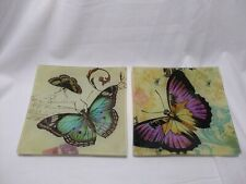 """2 - 5.75"""" Square Butterfly Glass Trinket Plates Trinket Tray Reverse Painted"""
