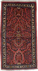 Vintage Coral Pink Floral Design 2X4 Oriental Rug Hand Knotted Entrance Carpet