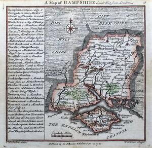 HAMPSHIRE, Badeslade & Toms Original Antique County Map 1742