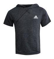 Adidas Cross Up Short Sleeve Hoodie Dark Grey Jumper T Shirt Sweatshirt AZ2115