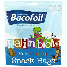 Bacofoil Rainbow Resealable Snack Bags x20 Pack - Printed with Fun Characters