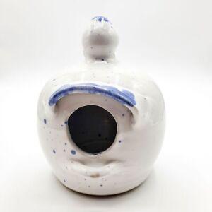Bird House Nest 6 Inch White / Blue  Birdhouse Decor Ceramic.Signed Shelton 1999