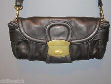 KOOBA Small NINA CONVERTIBLE Clutch BLACK LEATHER Shoulder Bag Push Lock EUC!