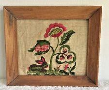 Vintage 1970s Crewel Embroidery Flowers on Linen Primitive Pine Frame Pink Green