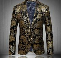 Mens Floral Lapel Slim Fit High Quality Fashion Formal Blazer Gold Coats 4XL New