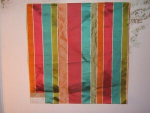 "Highland Court, Mandalay Stripe, 100% Silk, Remnant, 26"" W X 26"" L, Color Fuchia"