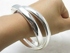 925Sterling Silver Double Smooth Round Circle Men Women Bracelet Bangle BY150