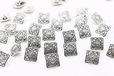 Silver Tribal Pattern Square Metal Shank Button BOHO Bohemian Ethnic 13mm 20pcs