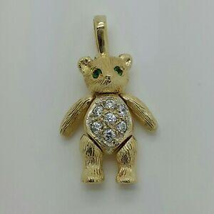 9ct Yellow Gold Emerald & CZ Set Teddy Bear Pendant *No Chain