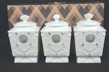 SET OF THREE TEA /SUGAR/COFFEE CANISTER SET 19H X 11 X 9CM