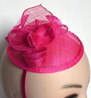 New Bright pink flower cap sinamay aliceband fascinator wedding races ascot prom