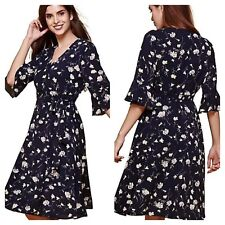 Yumi @ Look Again Size 10 Floral Print Wrap DRESS Occasion Wedding Evening £66