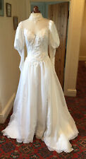VINTAGE 1980's VICTORIAN STYLE WHITE ORGANZA BEADED WEDDING DRESS WITH TRAIN