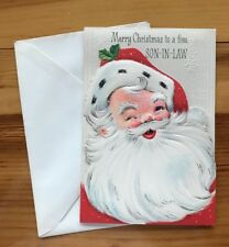 Vintage Rust Craft Die Cut Merry Xmas Son-in-Law Santa Holiday Greeting Card 3D