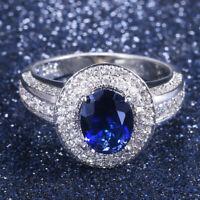 Elegant Women Oval Cut Blue Sapphire 925 Silver Jewelry Wedding Ring Size 6-10