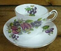 Vintage Regency Bone China Fruit Orchard Demitasse Cup & Saucer England