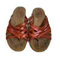 Ahnu Maia Orange/Red Stone Leather Thong Slides Sandals Women's Shoes Size W7