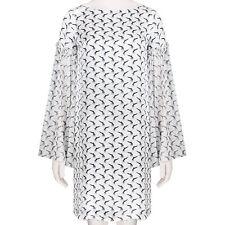 Thomas Wylde White Black Grey Pattern Kimono Sleeve Silk Dress XS UK6 IT38