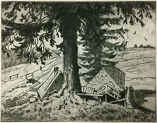 ETCHING Hand Signed ~ HANS THOMA ~ 1898 Idyllic Landscape SAWMILL IN FALKAU