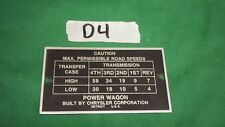 Dodge Power Wagon Civilian 1946 to 1967 Road speed plate (Mount holes off) (P10)