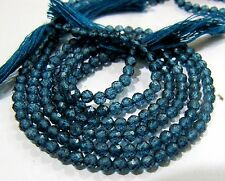 AAA Quality Natural London Blue Topaz Beads round faceted 3mm, Strand 13 inch