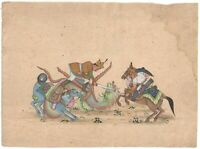 War Rare Scene Indian Mughal Battle Miniature Painting Decorative Original Paper