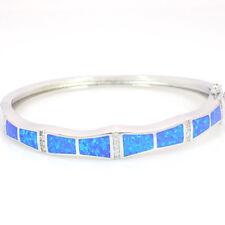 Fashion Fine Blue Fire Opal Bangles Sliver Jewelry For Women