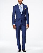 $845 CALVIN KLEIN Mens Blue 2 PIECE WOOL SUIT Extreme Slim Fit JACKET PANTS 38 R