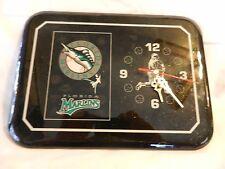 Florida Marlins Rectangular Varnished Baseball Wall Clock