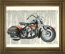 VINTAGE HARLEY DAVIDSON MOTORCYCLE: Bike Antique Dictionary Book Page Art Print