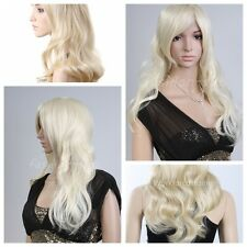 Women's Wavy Highlight Blonde Wig Hairline Lady GaGa Style Synthetic Wigs+Cap