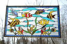 """35"""" x 21"""" Stained glass Jeweled window panel Tropical Fish under sea"""