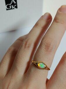 Ethiopian Opal Cabochon Signet Ring 6.75 Silver Gold Plated Catbird Sundance