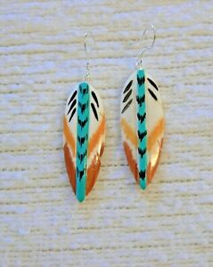 """CARVED PAINTED NATURAL BUFFAL0 BONE FEATHER EARRINGS-925 sterling 2 1/2"""""""