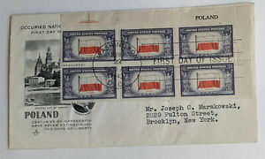 FIRST DAY OF ISUE COVER POLAND 1943 Letter From Washington DC To New Jork