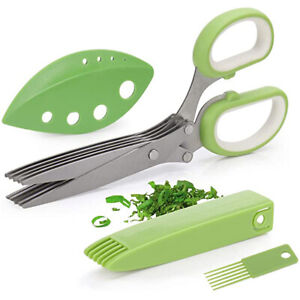 Herb Scissors with 5 Blades Kitchen Gadgets Chopper with Cover Brush Leaf Peeler