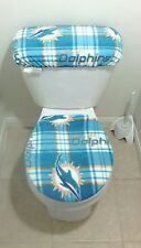Miami  Dolphins Plaid Fleece Fabric Toilet Seat Cover Set Bath Accessories