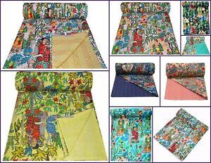 Handmade Bed Art Hippie Bedspread Floral Frida Kahlo Decor Ethnic Cotton Quilt