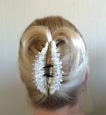 "WHITE, IVORY HAIR BARRETTE JAW CLIP CLAW LARGE-4""long,w. beaded crystals-NWT"