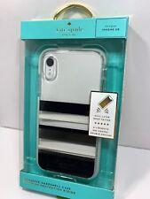Kate Spade Defensive Hardshell Case Cover for Apple iPhone XR Black Gold Stripe